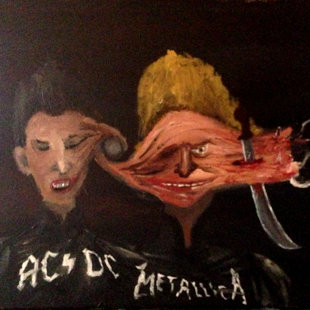 """Beavis and Butthead as cenobites"" (commisioned work for private collection,June 2014)"